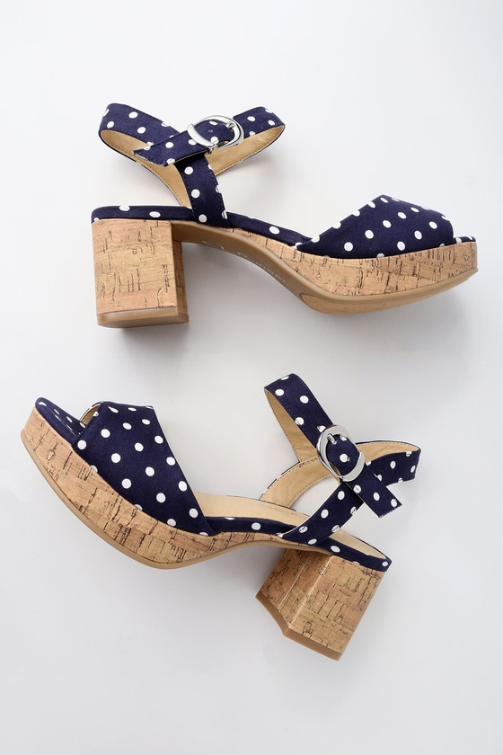 c75f3739529c Chinese Laundry Kensie - Navy Polka Dot High Heel Sandals