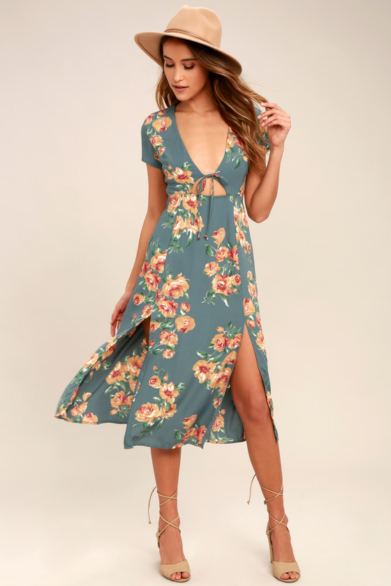 d0dc16f49ae Lovely Dusty Sage Dress - Floral Print Dress - Midi Dress