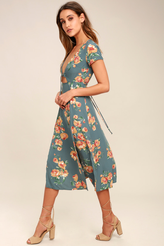 9e342d8b16eb Lovely Dusty Sage Dress - Floral Print Dress - Midi Dress