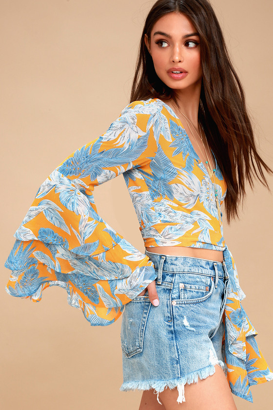 Cute Yellow Top Tie Front Top Ruffled Sleeve Crop Top