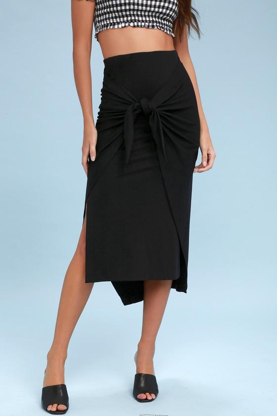 89278e3c85e Cute Black Skirt - Midi Skirt - Tie-Front Skirt