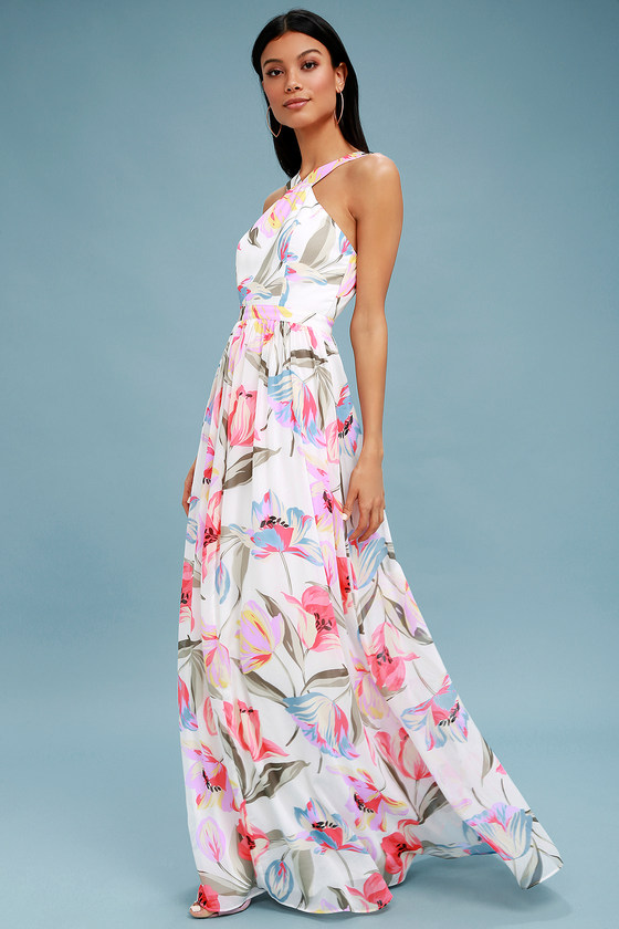 da67465df1 Lovely White Dress - Floral Print Dress - Maxi Dress