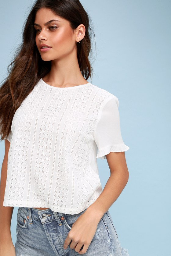 eb52562a7495 Chic White Top - Ruffle Sleeve Top - White Eyelet Top