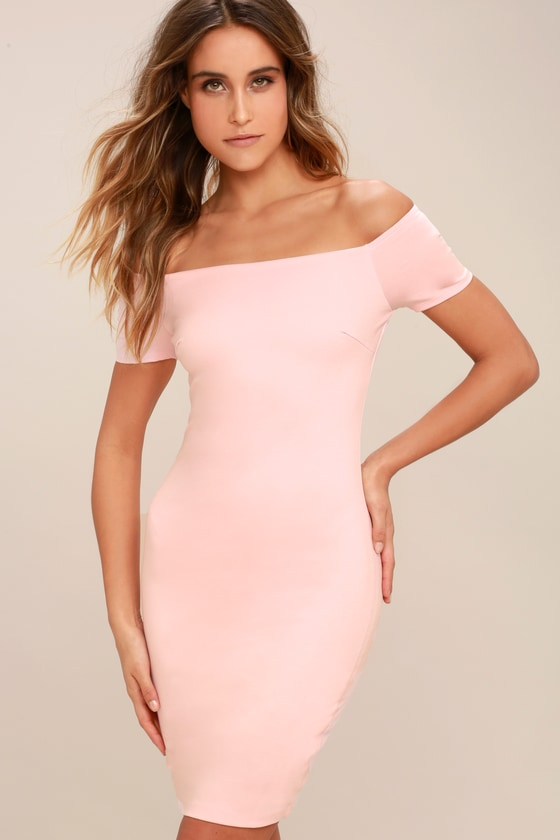 Blush Pink Dress - Off-the-Shoulder Dress - Bodycon Dress 2c9a73341