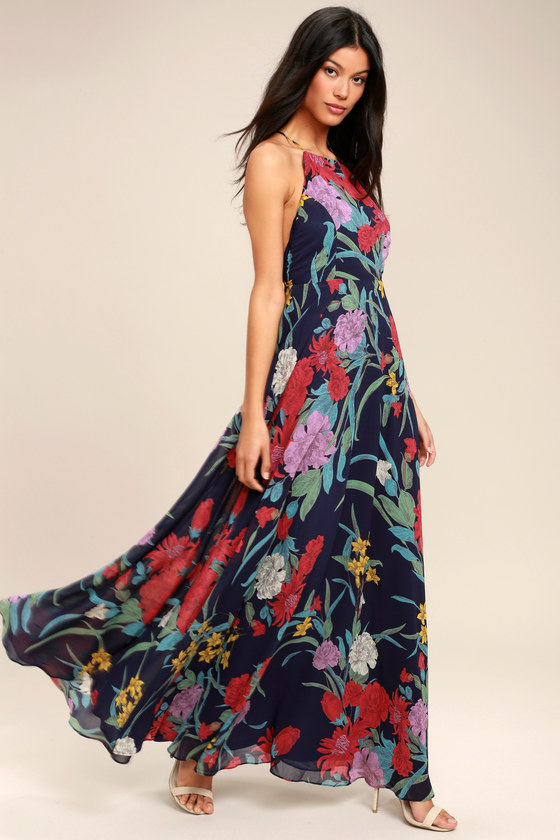 49ced65aafa3 Lovely Navy Blue Dress - Floral Print Dress - Maxi Dress