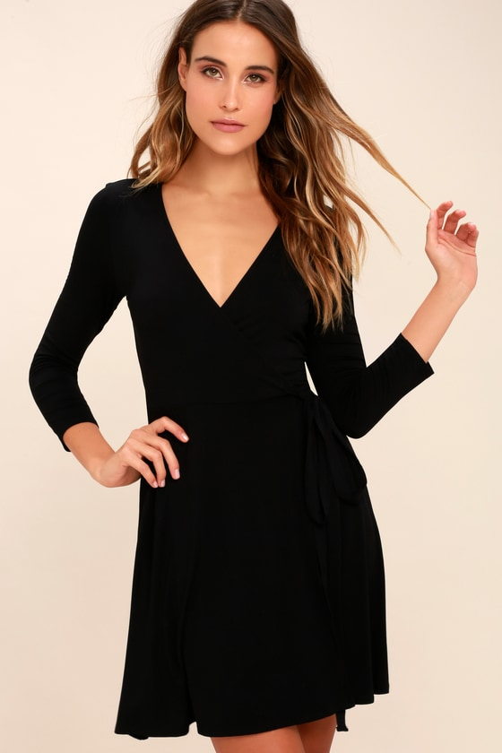 ec521b1118a Cool Black Dress - Wrap Dress - Three-Quarter Sleeve Dress