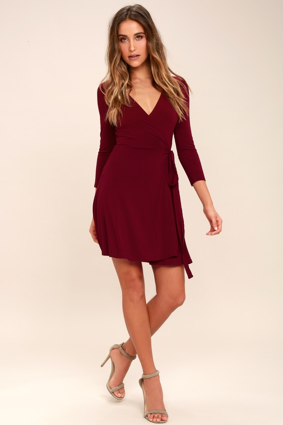 Cool Burgundy Dress - Wrap Dress - Three-Quarter Sleeve Dress -  48.00 fb1b41ba4