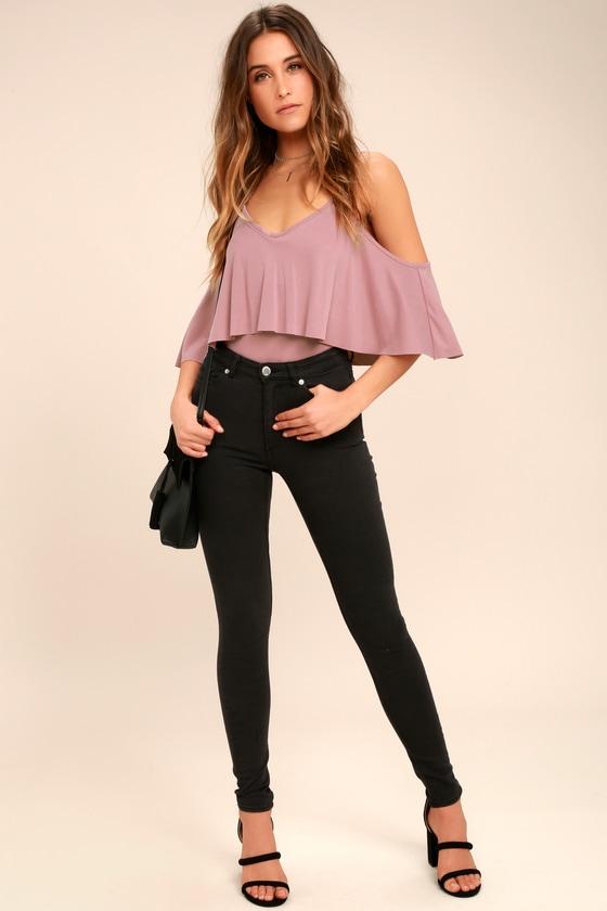 Sexy Mauve Pink Bodysuit - Backless Bodysuit - Flounce Bodysuit -  39.00 fb88ca25b