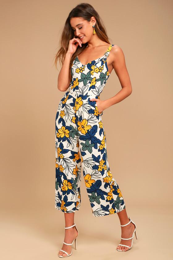 6fa6ec0f708d Fun Ivory Floral Print Midi Jumpsuit - Culotte Jumpsuit