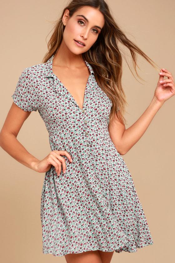 Light Blue Floral Print Dress - Skater Dress -Collared Dress 3b1378c2d