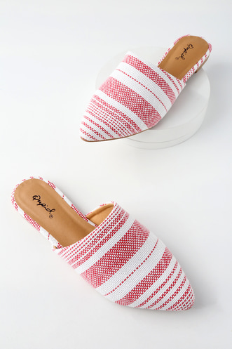 3012a5c297b65 Gilby Red and White Striped Mules