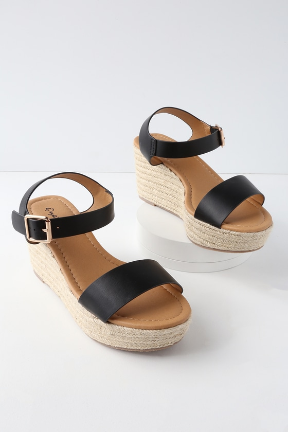 Cute Black Wedges Espadrille Wedges Ankle Strap Sandals