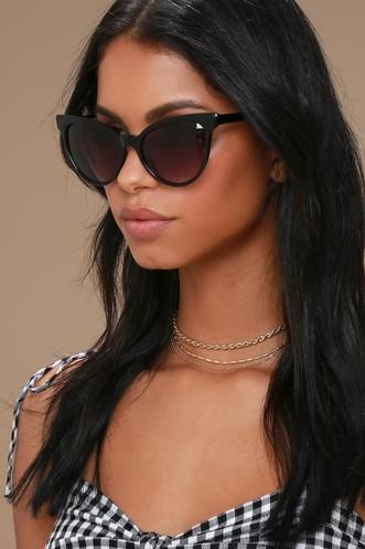 590b53f6f0f Girlie Black Cat-Eye Sunglasses