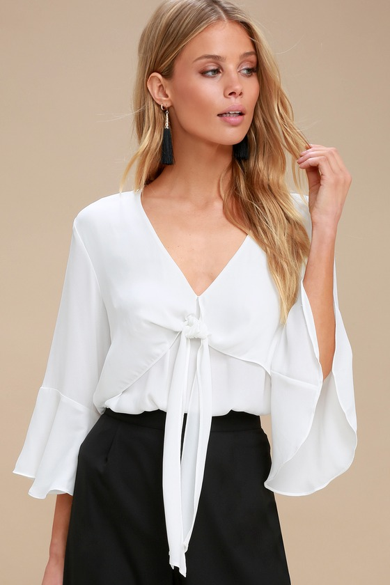 bb226c5c97f91 Cute White Top - Tie-Front Top - Flounce Sleeve Top