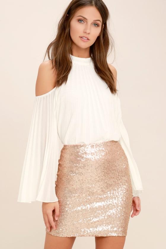 Champagne Sequin Mini Skirt