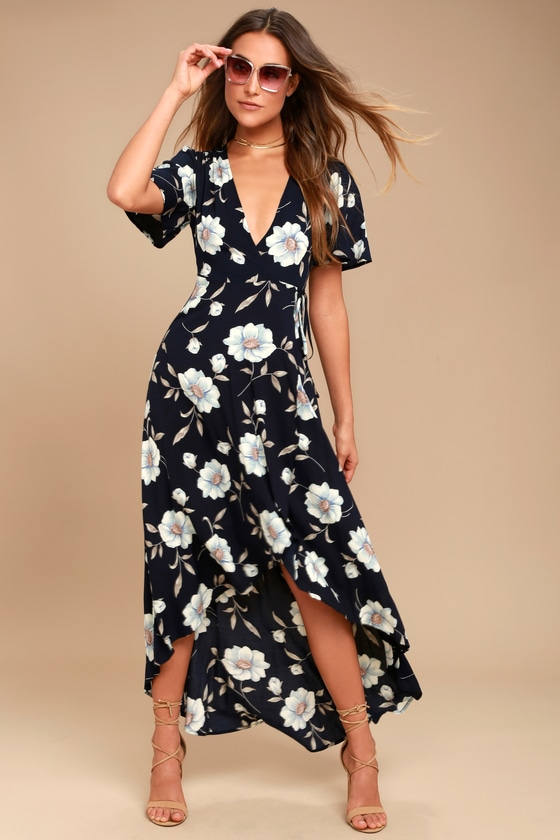 Navy Blue Floral Print Dress - Wrap Dress - High-Low Dress a3b936c61