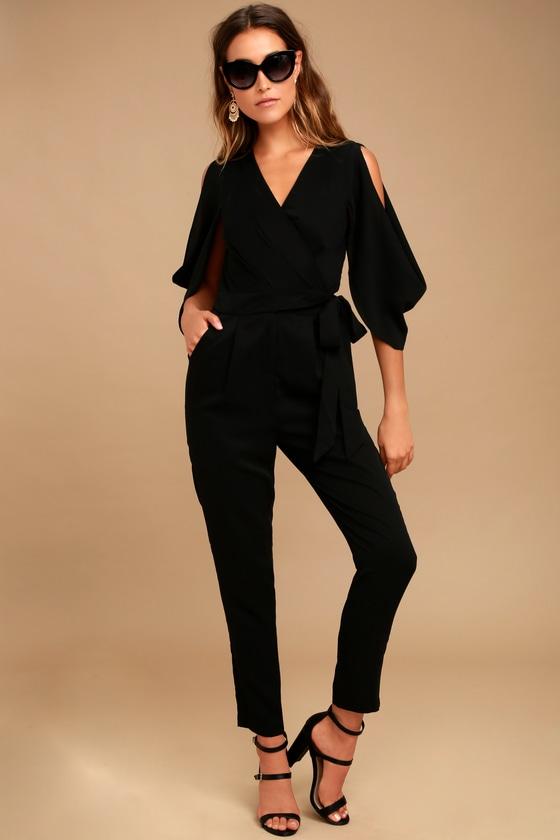 6011b1953f1b Sexy Black Jumpsuit - Cutout Jumpsuit - Cold-Shoulder Jumpsuit