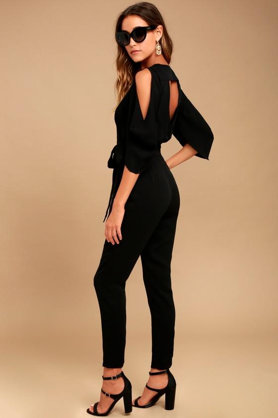 136dbb76e6d Sexy Black Jumpsuit - Cutout Jumpsuit - Cold-Shoulder Jumpsuit