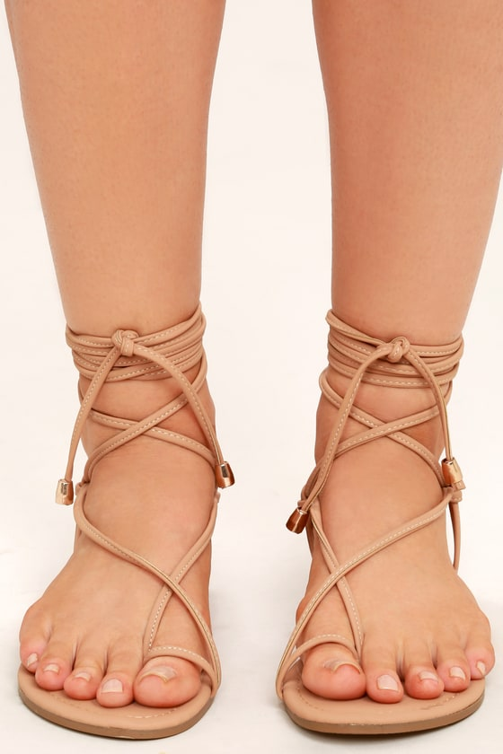 Cute Nude Sandals - Flat Sandals - Lace-Up Sandals 3cdeaf41b