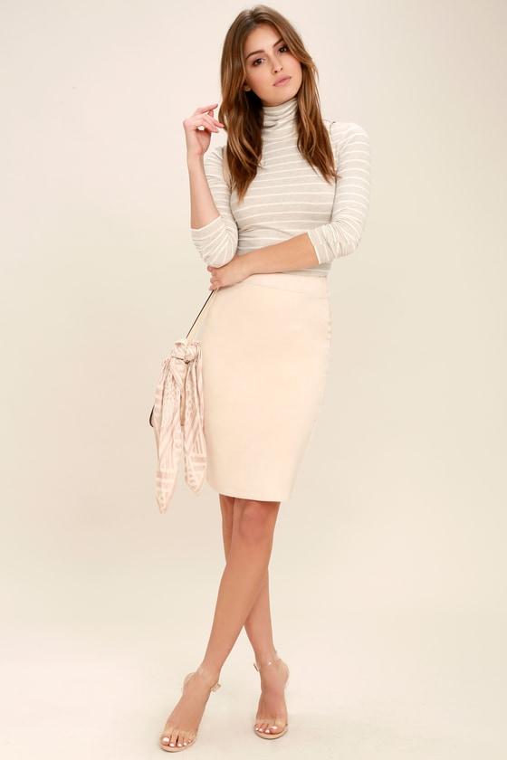 e7e1e23b48 Chic Light Beige Skirt - Pencil Skirt -Vegan Suede Midi Skirt