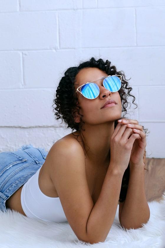 Mariette Gold and Blue Mirrored Sunglasse