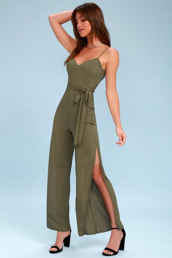 2f4033a5503 Cute Olive Jumpsuit - Slit Leg Jumpsuit - Wide Leg Jumpsuit