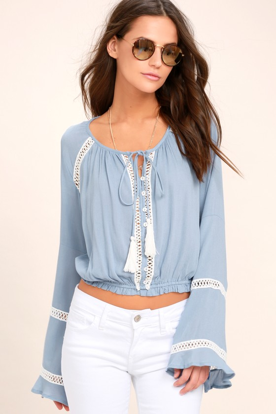 a8a5f802029 Cute Light Blue Crop Top - Long Sleeve Crochet Top -Lace Top
