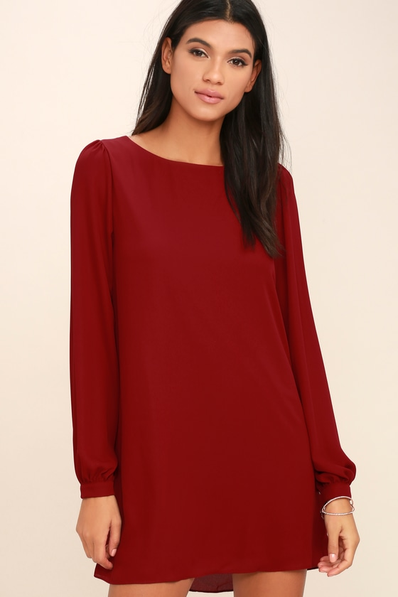 032071bdf2c7 Pretty Wine Red Dress - Shift Dress - Long Sleeve Dress -  42.00