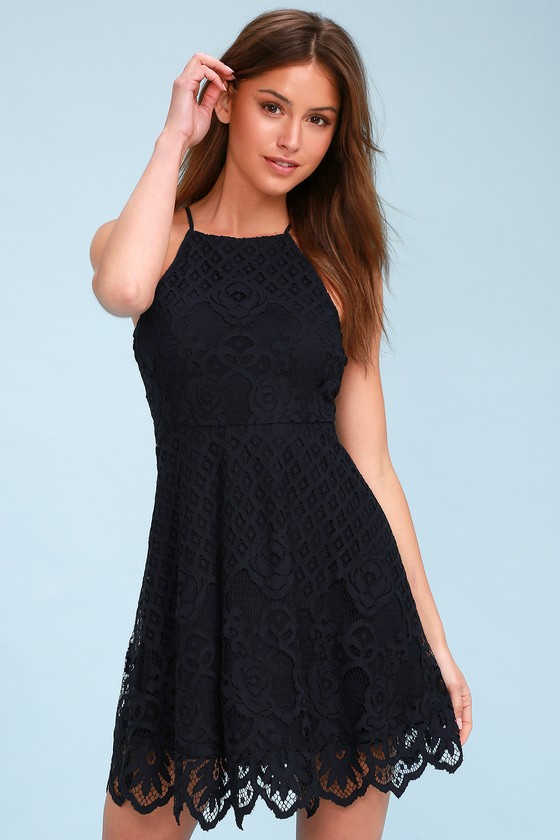 94ea8289d1da Black Swan Charlotte - Navy Blue Dress - Lace Skater Dress