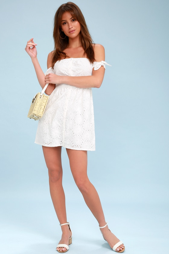 2e70508141e Black Swan Gemma - White Eyelet Dress - OTS Mini Dress