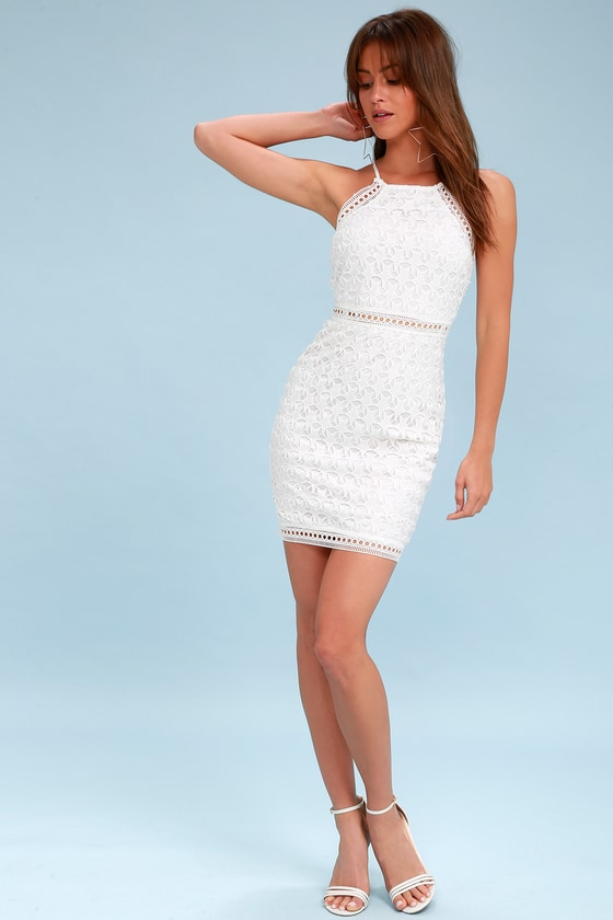 d367a312236e Chic White Dress - Star Dress- Sheath Dress - Lace Dress