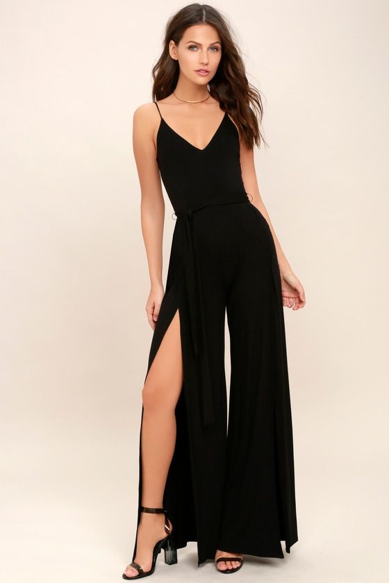 34765bfc99f0 Cool Black Jumpsuit - Wide-Leg Jumpsuit - Slit Jumpsuit