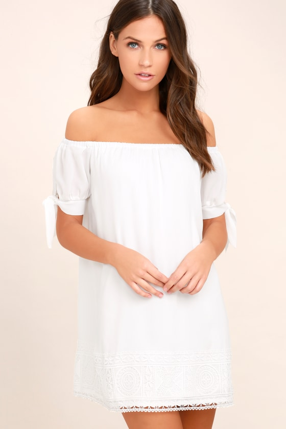 4f1b91863ee19 Cute White Dress - Off-the-Shoulder Dress - Lace Shift Dress