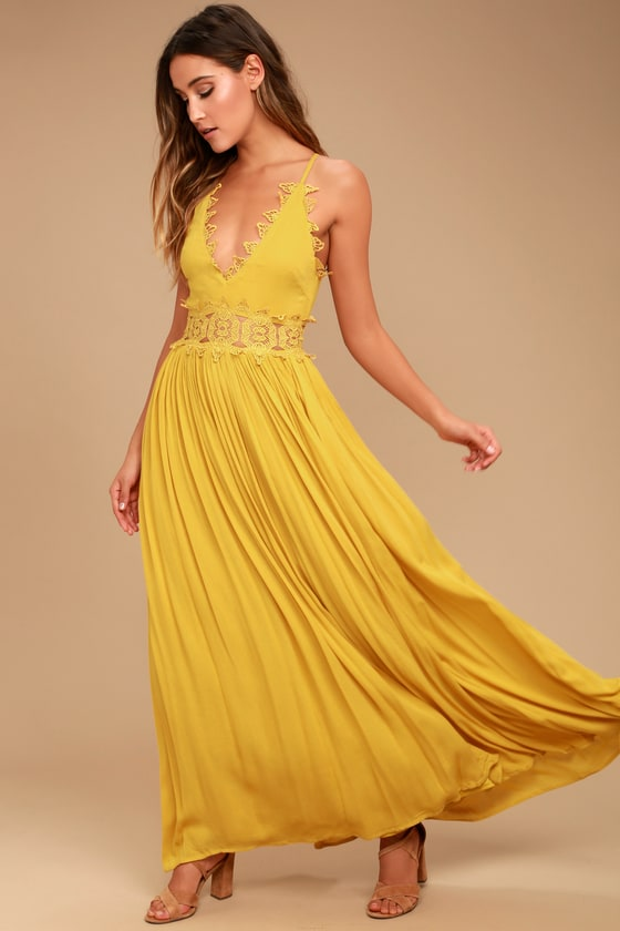 21483f802652 Mustard Yellow Maxi Dress - Lace Maxi Dress - Plunge Neck