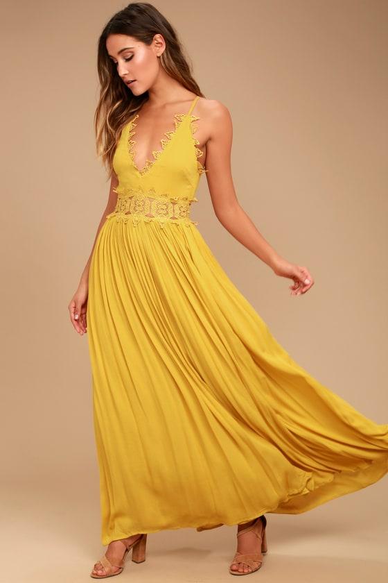 41bf294364 Mustard Yellow Maxi Dress - Lace Maxi Dress - Plunge Neck