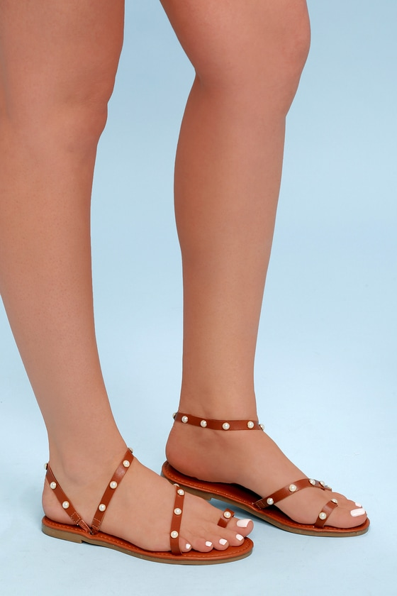 Cute Tan Flat Sandals - Pearl Sandals - Flat Pearl Sandals