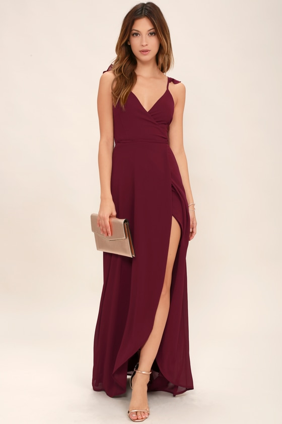 a919b63859fbd Burgundy Dress - Wrap Dress - High-Low Dress - Maxi Dress