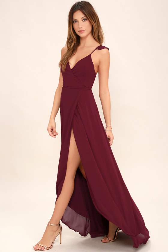 13367ad542e Burgundy Dress - Wrap Dress - High-Low Dress - Maxi Dress
