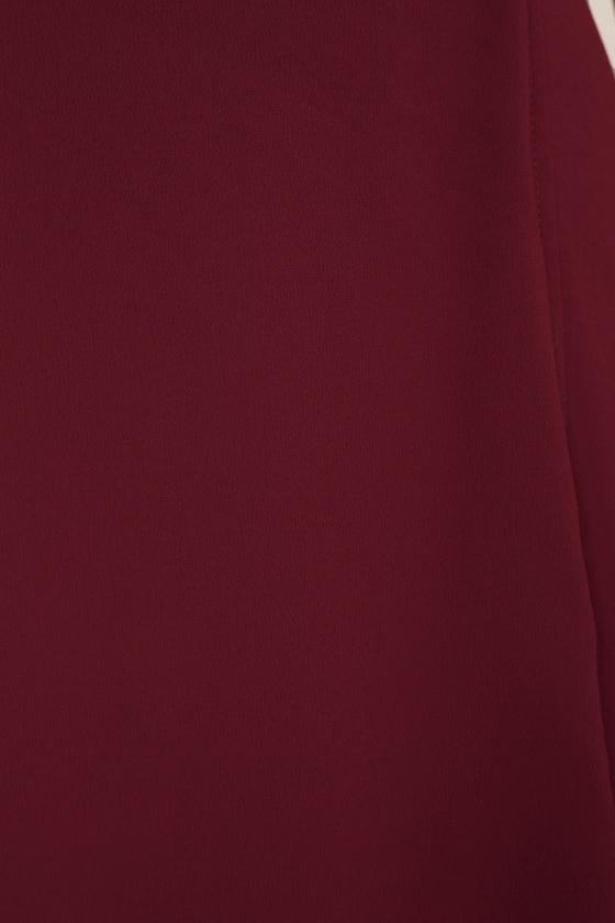 Burgundy Dress - Wrap Dress - High-Low Dress