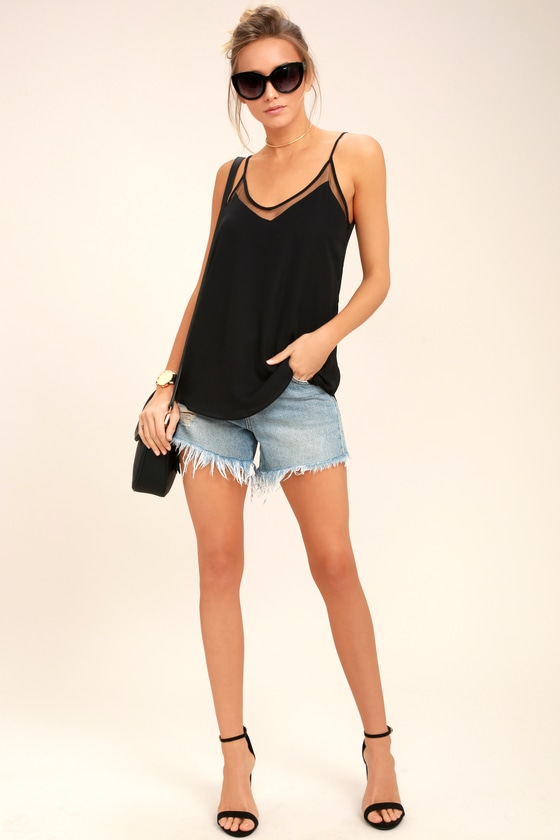 8dc9506b31 Cute Tank Top - Black Cami - Black Mesh Cami - Mesh Tank Top