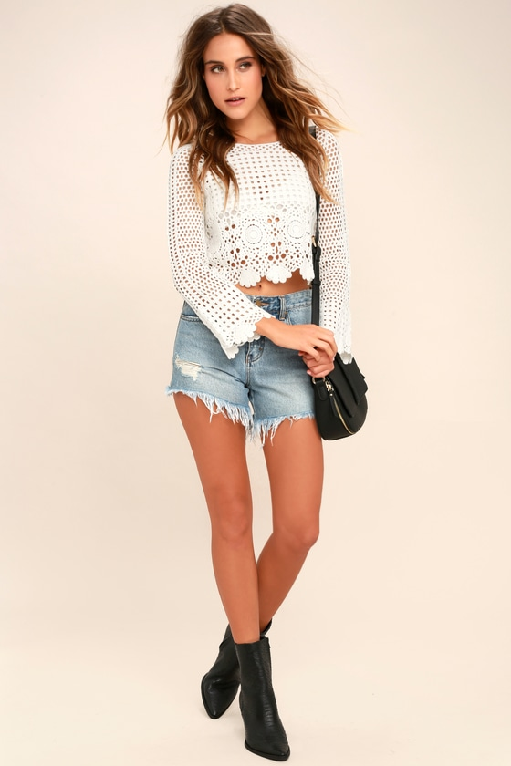 87bbe853f98 White Crochet Top - Sheer Lace Top - Long Sleeve Crop Top