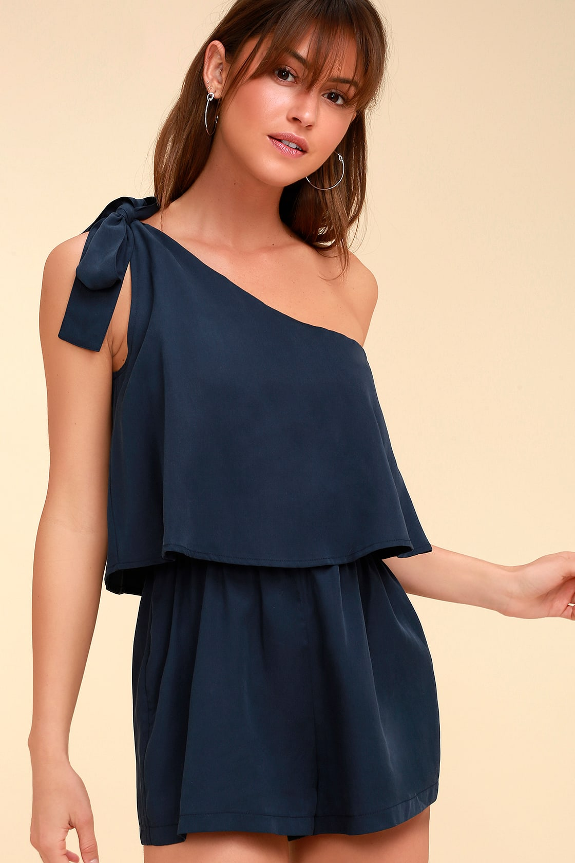 Destined For Chicness Navy Blue One Shoulder Romper by Lulus