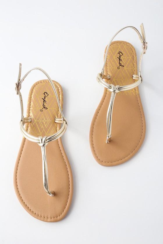 Sheridan Gold Metallic Flat Thong Sandals by Lulu's