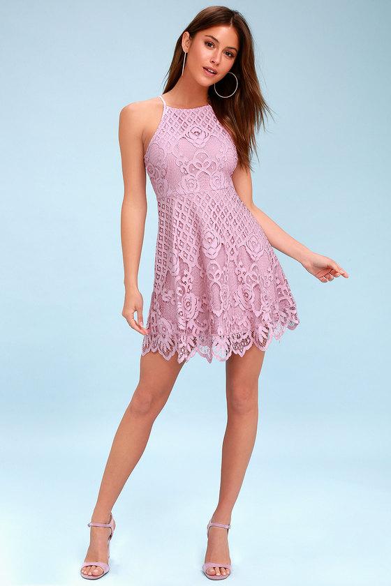 dec8666d4c02 Black Swan Charlotte - Mauve Pink Dress - Lace Skater Dress