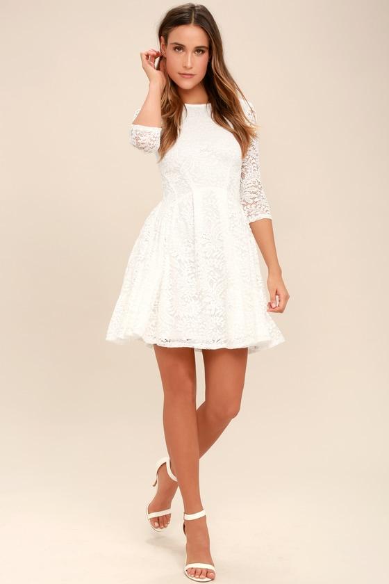67c7b2d6d2 Lovely White Dress - Lace Dress - Skater Dress
