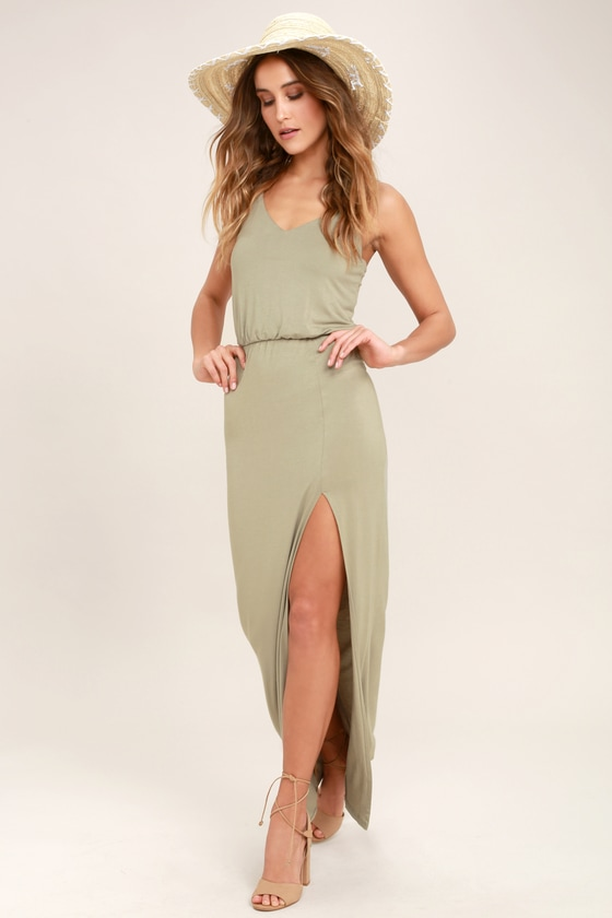 Watch the Sunset Washed Olive Green Maxi Dress - Lulus