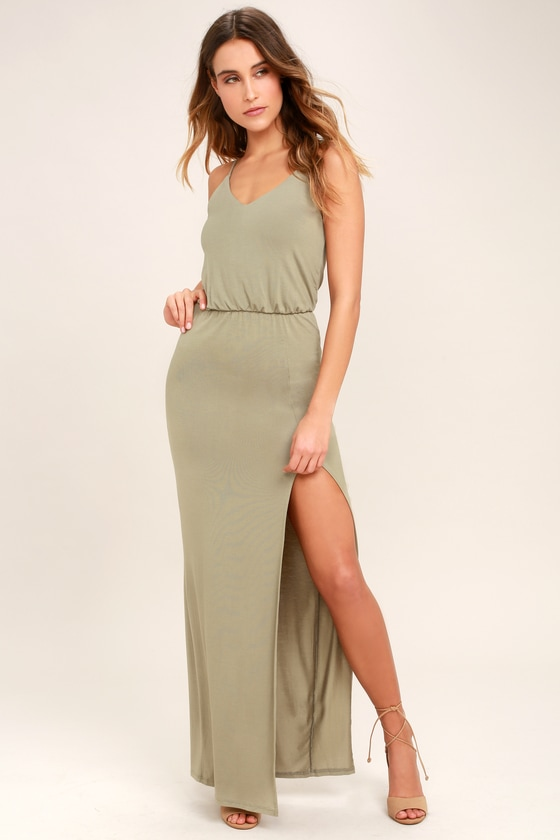 6c37a0719c Cute Washed Olive Green Dress - Maxi Dress - Sleeveless Maxi