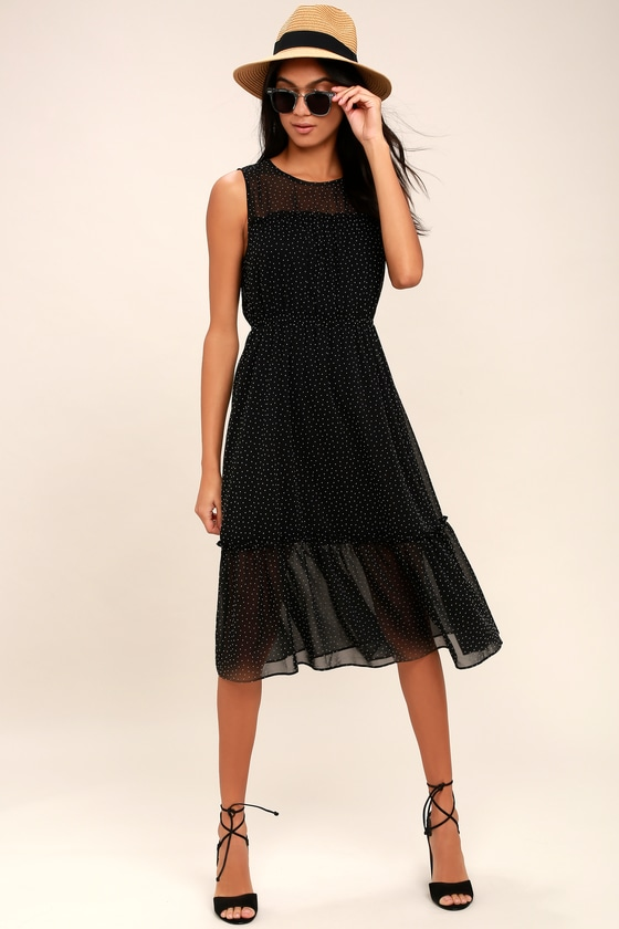 1eea48e7ca Cute Black Polka Dot Dress - Midi Dress - Sleeveless Dress