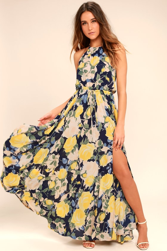 Stunning Floral Print Maxi Dress Blue And Yellow Maxi