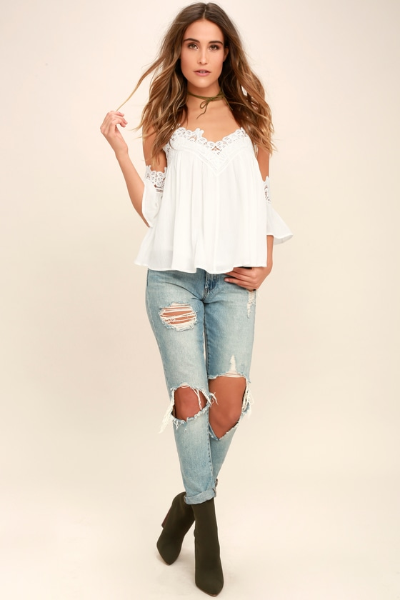 boho white lace top offtheshoulder top crochet top
